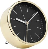 Karlsson - Alarmklok Minimal - Metaal - Zwart - Goud- Ø10cm