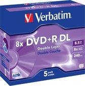 Verbatim 43541 DVD+R Double Layer Matt Silver - 5 Stuks / Jewelcase
