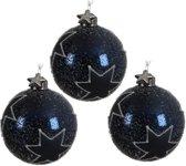Glas Kerstballen Met Glittersterren (8cm) Box 3 Stuks Night Blue