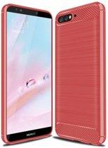 Huawei Y6 2018 - Geborstelde TPU Cover - Rood