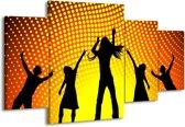 Canvas schilderij Dansen | Zwart, Geel, Oranje | 160x90cm 4Luik