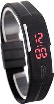 LED Horloge -  Tieners - Horloge - Rubber - 20 mm – Zwart/ Wit – I-deLuxe verpakking