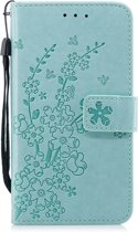 Apple Iphone 7 / 8 Bookcase hoesje bloemen en takjes (mintgroen)