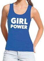 Girl power tekst tanktop / mouwloos shirt blauw dames - dames singlet Girl power M