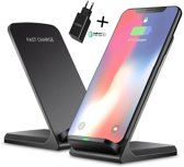 QY  Draadloze Qi Snellader Met Quick Charger Set- Draadloze Oplader voor Iphone- Wireless Charger Samsung- Wireless Fast Charger- Oplaadstation- Apple iPhone X / XS / XR / XS / 8 / Samsung Galaxy / S8 / S9 / Plus / Edge / Note / Nokia / HTC.