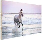 Paard op het strand Hout 60x40 cm - Foto print op Hout (Wanddecoratie)