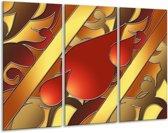 Canvas schilderij Art | Bruin, Goud, Rood | 120x80cm 3Luik
