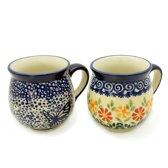 Bunzlau keramiek 2 beker-set (bolvorm) dessin Blauwe vlinder en Adelheid