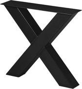 Stalen X Poot | Ongelakt| Koker 100x100 | X-onderstel | Industrieel Tafelonderstel