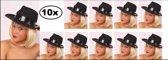 10x Al Capone hoed zwart - maffia hazes black and white gangster kojak hoed zwart