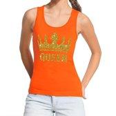 Oranje Koningsdag Queen tanktop shirt/ singlet met gouden glitters dames - Oranje Koningsdag kleding S