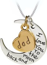 Fako Bijoux® - Ketting - Dad, I Love You To The Moon And Back