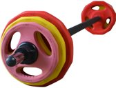 Bodypumpset RS Sports 130 cm - Halterset - 20 KG - Rood/Geel/Roze