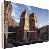 Lalibela de rots gehouwen kerk in zonlicht Ethiopië Vurenhout met planken 90x60 cm - Foto print op Hout (Wanddecoratie)