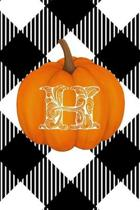 H: Cute Pumpkin Monogram Initial Letter H White Buffalo Plaid Check Personalized Gratitude Journal for Women and Girls