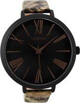 OOZOO Timepieces Zwart horloge  (48 mm) - Bruin