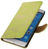 Lace Bookstyle Hoes voor Huawei Honor 6 Plus Groen