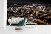 Fotobehang vinyl - Luchtfoto van het Noord-Amerikaanse San Antonio in de nacht breedte 640 cm x hoogte 360 cm - Foto print op behang (in 7 formaten beschikbaar)
