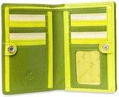 Visconti Dames Portemonnee - Compact Beugelportemonnee - Leer - Rainbow Collectie - Groen-Multi (RB109 lm)