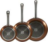 Koekenpan Set - 3 delige Pannenset San Ingnacio - Copper set - Koperen Koekenpannen - 3 stuks - Koperen braadpannen - Hoge Kwaliteit