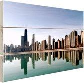 Chicago skyline Hout 60x40 cm - Foto print op Hout (Wanddecoratie)