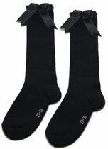 iN ControL - 2 pack kniekousen met satijnen STRIK - black mt 31/34