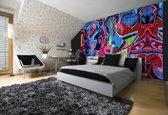 Fotobehang Papier Graffiti   Blauw, Rood   368x254cm