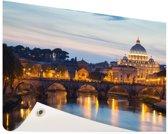Rome in de avond Tuinposter 120x80 cm - Tuindoek / Buitencanvas / Schilderijen voor buiten (tuin decoratie)