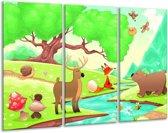 Glasschilderij Sprookje   Groen, Oranje, Paars   120x80cm 3Luik   Foto print op Glas    F004918