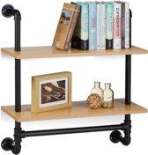 relaxdays boekenplank industrieel 2 etages - keukenrek retro - wandrek - hangend rek hout