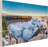 Wolk Grand Canyon bij zonsopgang Hout 30x20 cm - klein - Foto print op Hout (Wanddecoratie)