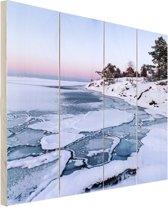 Bevroren zee Hout 120x160 cm - Foto print op Hout (Wanddecoratie) XXL / Groot formaat! / Zee en Strand