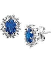 The Jewelry Collection Oorknoppen Zirkonia Synthetische Saffier - Zilver Gerhodineerd