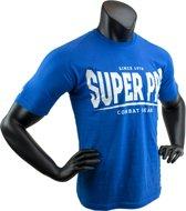 Super Pro T-Shirt S.P. Logo Blue/Wit Medium