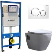 Geberit UP 320 Toiletset – Inbouw WC Hangtoilet Wandcloset – Daley Flatline Geberit Sigma-20 Wit
