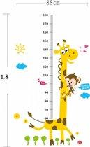 Fleurige Groeimeter / Meetlat Muursticker Giraffe - Muursticker voor Kinderkamer & Babykamer