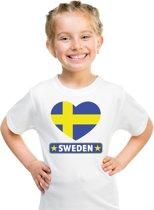 Zweden kinder t-shirt met Zweedse vlag in hart wit jongens en meisjes S (122-128)