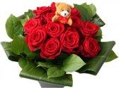 Dozijn (12) rode rozen boeketje met beertje
