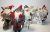 DBT - Kerstman - Kerstversiering - H 35 cm   -   D 18 cm - 2 modellen   nummer 3 en 5 - Rood -Beige - Crème - Grijs
