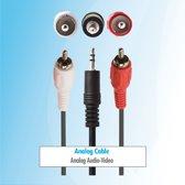Budget 10 meter 3,5 mm jack naar tulp RCA aux audio kabel