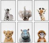 Babykamer - Posters - Safari Kamer - Kinderkamer - 6 Posters - Dieren Posters - Safari Wanddecoratie - A3 formaat 30x40 cm - Poster Babykamer - Kinderposters - Baby Dieren