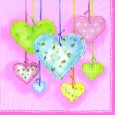 IHR Patched Hearts Servetten - 16.5 x 16.5 cm - Lichtblauw