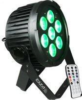Ibiza Light - DMX-BESTUURDE LED PAR CAN MET 7x 12W RGBWA-UV LED's 6-in-1