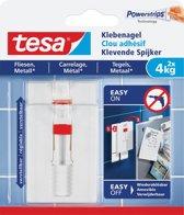 10x Tesa 77767 Klevende Spijker voor Tegels en Metaal, verstelbaar, draagvermogen 4 kg, blister a 2 stuks