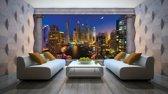 Fotobehang Papier Skyline, Nacht | Blauw | 368x254cm