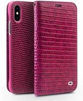 Qialino - echt lederen luxe wallet hoes - iPhone X / XS - Croco roze