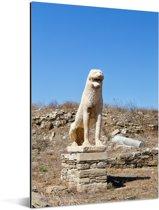 Standbeeld van De Leeuwen van Delos in Griekenland Aluminium 80x120 cm - Foto print op Aluminium (metaal wanddecoratie)