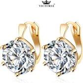 Victoria - Goudkleurige Oorbellen - Oostenrijks Bergkristal
