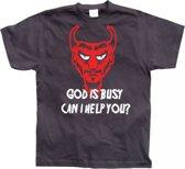 Fun t-shirt God Is Busy heren XL