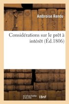 Consid�rations Sur Le Pr�t � Int�r�t